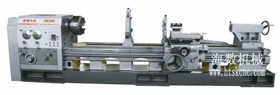 CW6163E/CW6180E 普通车床  CW6163E/CW6180E普通车床特点 本机床可承担各种车削工件,它能够车削各种零件的外圆、内孔、端面及公制螺纹、英制螺纹、模数螺纹和径节螺纹等。也适应于用硬质合金刀具进行强力车削,加工各种黑色金属和有色金属; 床身采用大侧壁双筋,箱型和斜拉式内筋板组合整体结构,变形小,刚度强; 本机床采用四档变频无级调速,与全机械变速普通车床相比,具有车削扭矩大、转速范围广、噪音小、精度高、工作稳定等特点; CW6163E/CW6180E普通车床技术参数